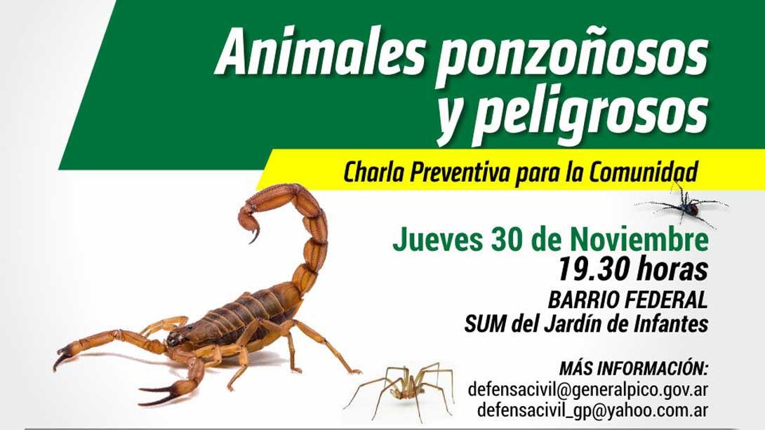 Dictarán charla preventiva sobre animales ponzoñosos y peligrosos