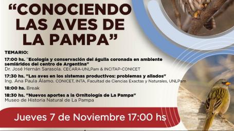 """Dictarán el ciclo de charlas """"Conociendo las aves de La Pampa"""""""