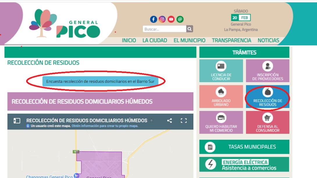 SERVICIO DE RECOLECCIÓN EN BARRIO SUR